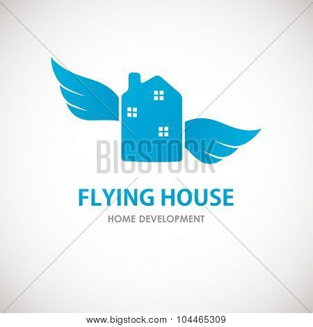 Small blue house with wings. Home cleaning or delivery company business logo. Vector  element,  icon.