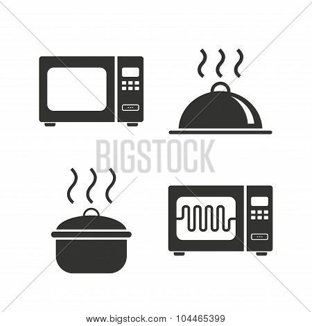 Microwave oven icon. Cooking pan, food serving.