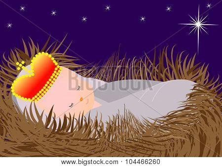 Baby Jesus in the manger-Vector illustration