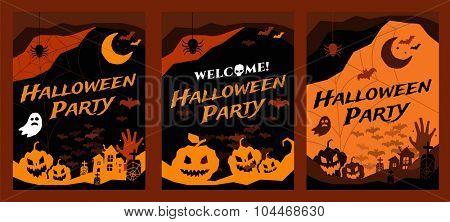 Halloween vector background banners. Pumpkin head, zombie hand, halloween symbols. Halloween silhouette for halloween party flyer invite card design.