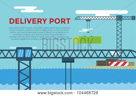 Sea transportation logistic port infographics. Vector transportation concept illustration. Sea shipping dock port terminal.