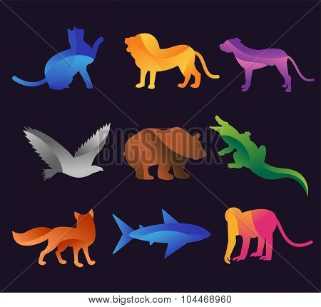 Animal zoo vector icons set. Wild animals vector collection. Jungle animals, vector animals, fox, lion, monkey, cat and dog.