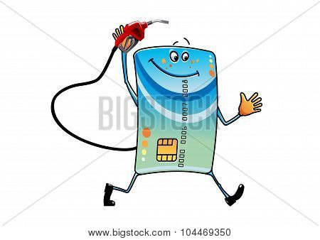 Cartoon bank credit card with gasoline nozzle