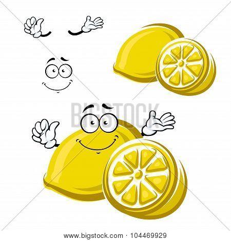 Cartoon happy ripe lemon fruit