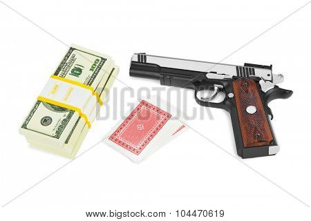 Gun money and playing cards isolated on white background