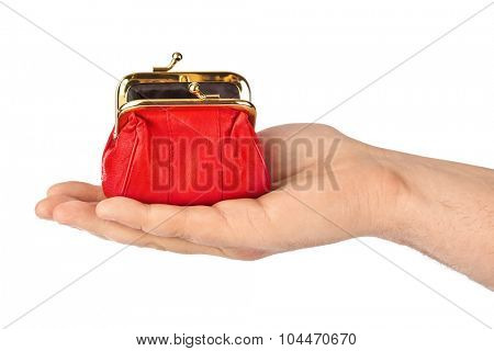 Hand with purse isolated on white background
