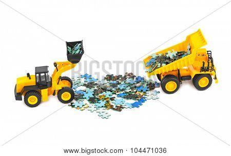Toy loader and truck with puzzle isolated on white background