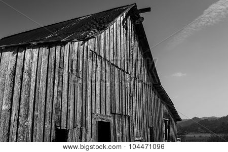 Abandoned Barn, Black and White Image