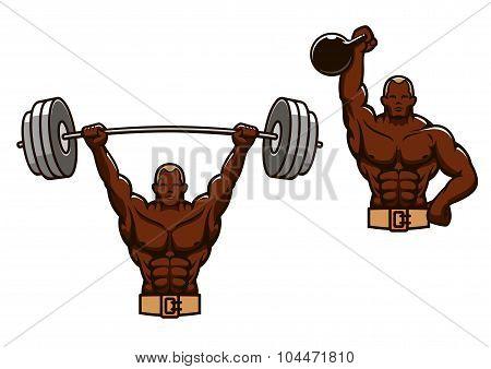 Cartoon muscular man lifting heavy weights