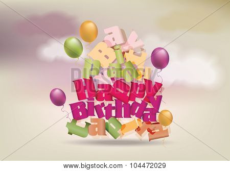 Happy birthday design template on  background with clouds. Broken text