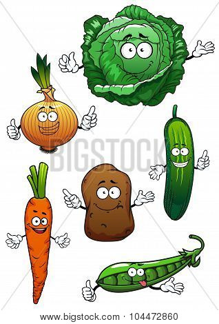 Fresh healthful vegetables cartoon characters