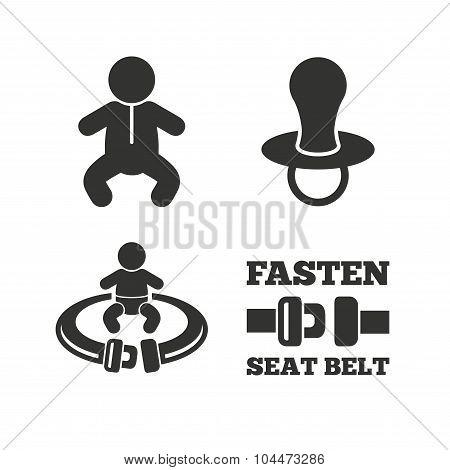 Baby infants icons. Fasten seat belt symbols.