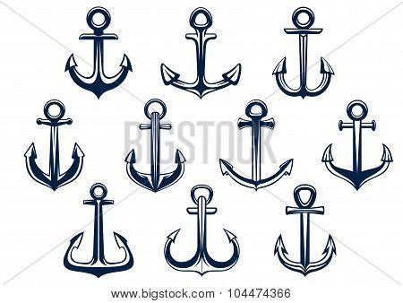 Heraldic set of marine ships anchors