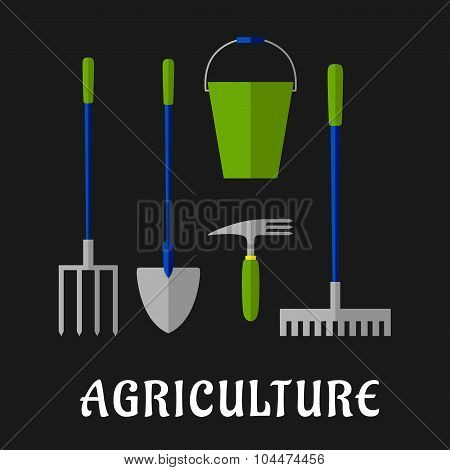 Agricultural and gardening tools flat icons