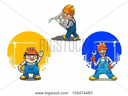 Cartoon builders anf engineer with tools