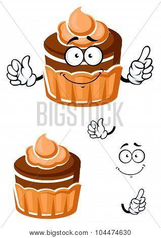 Cartoon chocolate cupcake with caramel cream