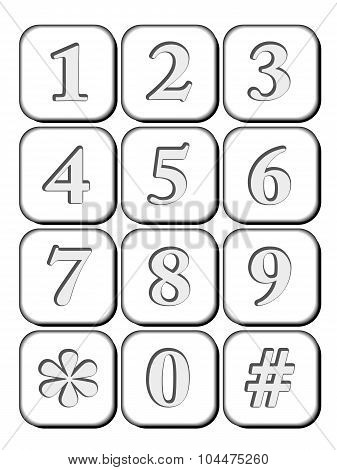 3D Icon Number Engraved For Telephone