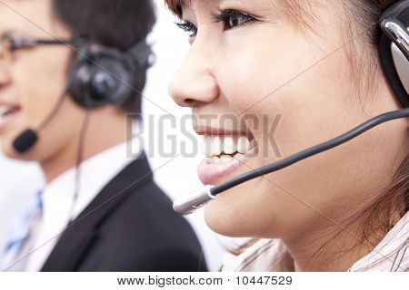 customer support team with smiling businesswoman