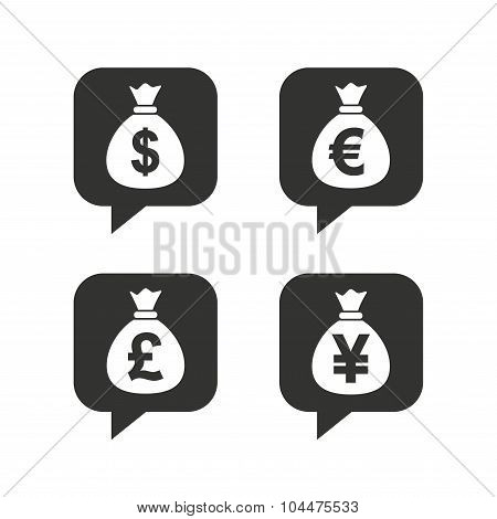 Money bag icons. Dollar, Euro, Pound and Yen.