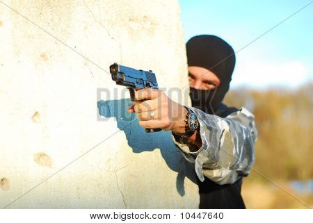 Terrorist With Mask And Gun
