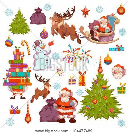 Merry Christmas icon set with Santa Claus, pine, snowman and other. Vector illustration