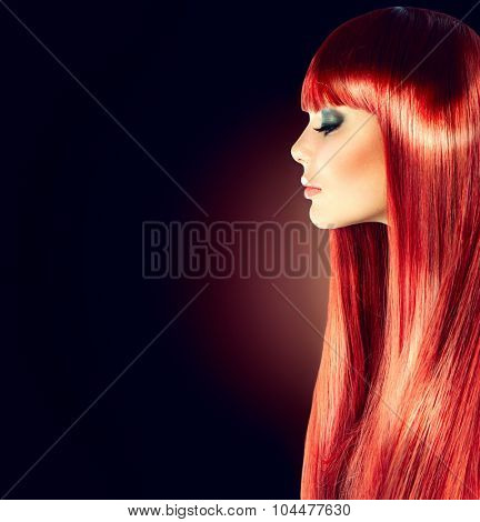 Beauty Model girl with Healthy Hair. Beautiful woman with long smooth shiny straight hair. Hairstyle. fringe hairstyle, Hair cosmetics, haircare. Hair colouring