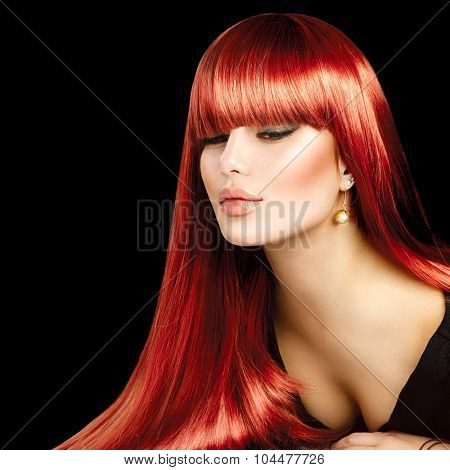 Beauty Model girl with Healthy Hair. Beautiful sexy woman with long smooth shiny straight hair. Hairstyle. fringe hairstyle, Hair cosmetics, haircare. Hair colouring