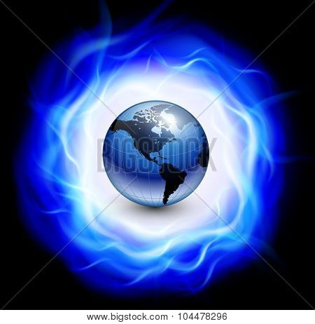 Background with burning ring of blue flames and earth globe inside, vector illustration.