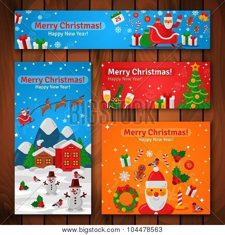 Flat Design Christmas and New Year Greeting Cards and Banners.
