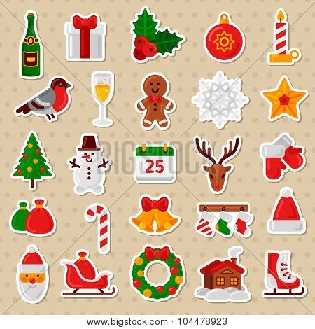 Merry Christmas Flat Icons. Happy New Year Stickers.