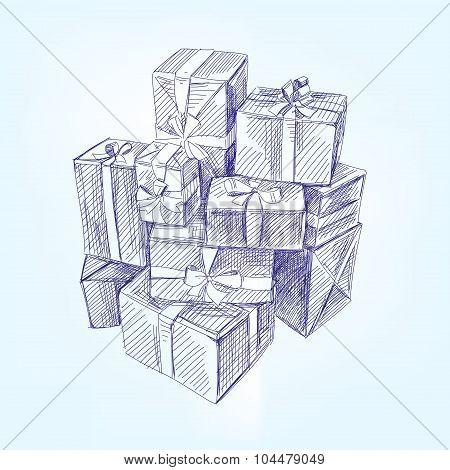 gift box hand drawn vector llustration realistic sketch