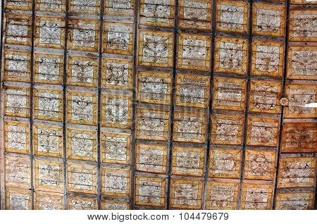 Old Runic Letters On The Ceiling Of An Unitarian Church