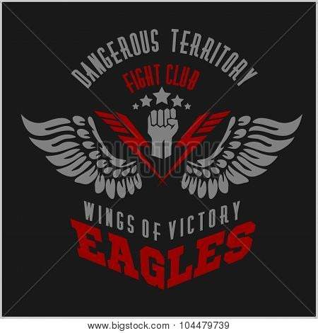 Eagle wings - military label, badges and design elements