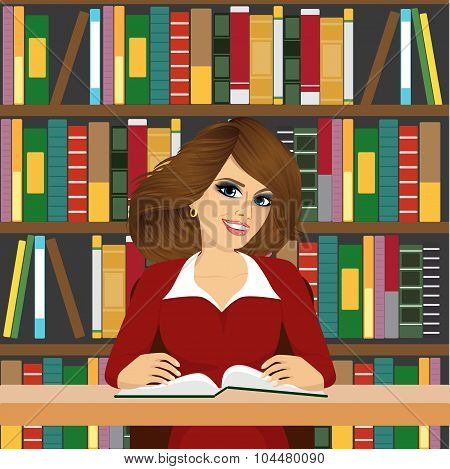 friendly student girl studying in library