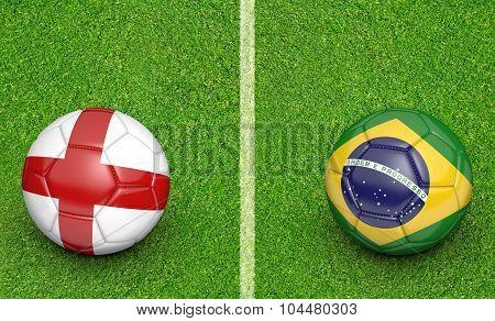 Team balls for England vs Brazil soccer tournament match