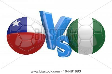 Soccer versus match between national teams Chile and Nigeria