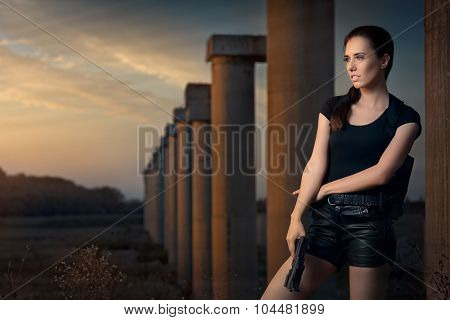 Powerful Woman Holding Gun Action Movie Style