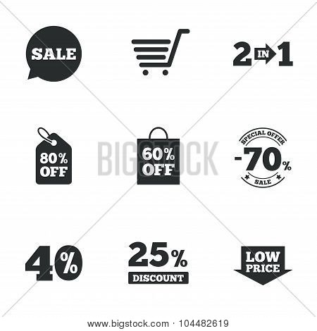Sale discounts icon. Shopping, deal signs.