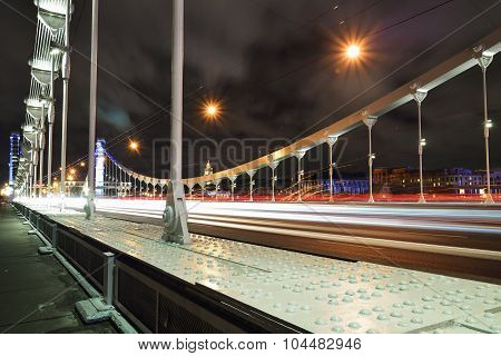 Crimean Bridge At Night, Moscow, Russia