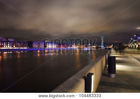 Crimean embankment in night lights Moscow, Russia