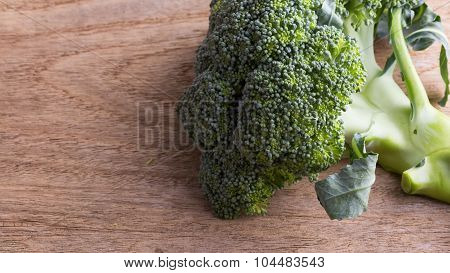 Green Broccoli Organic Vegetable On Wood Board Prepared Cooking