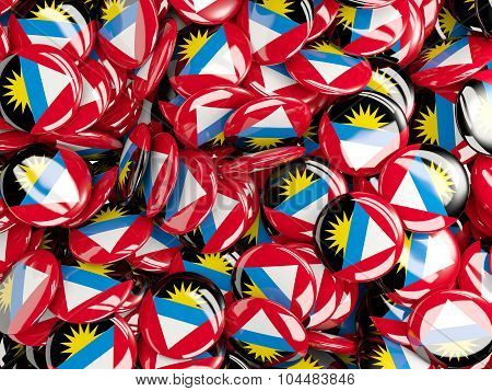 Background With Round Pins With Flag Of Antigua_and_barbuda