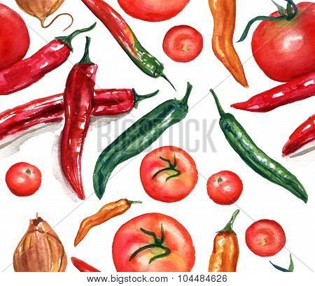 Seamless watercolor pattern of drawings of vegetables