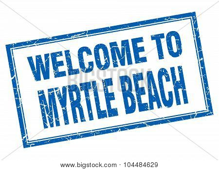 Myrtle Beach Blue Square Grunge Welcome Isolated Stamp