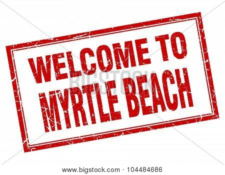 Myrtle Beach Red Square Grunge Welcome Isolated Stamp