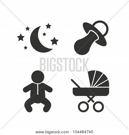Moon and stars. Baby infant icon. Buggy, dummy.
