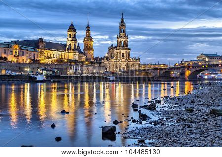 View On Dresden From Side Of Elbe River