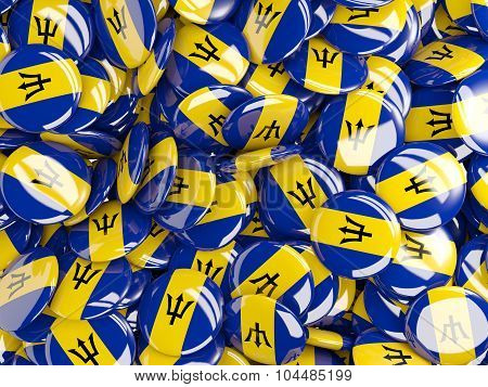 Background With Round Pins With Flag Of Barbados
