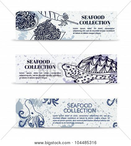 Vintage set of banners marine collection seafood turtle, octopus and squid