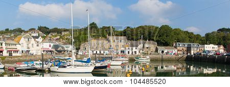 Padstow harbour North Cornwall England UK beautiful late summer sun panoramic view